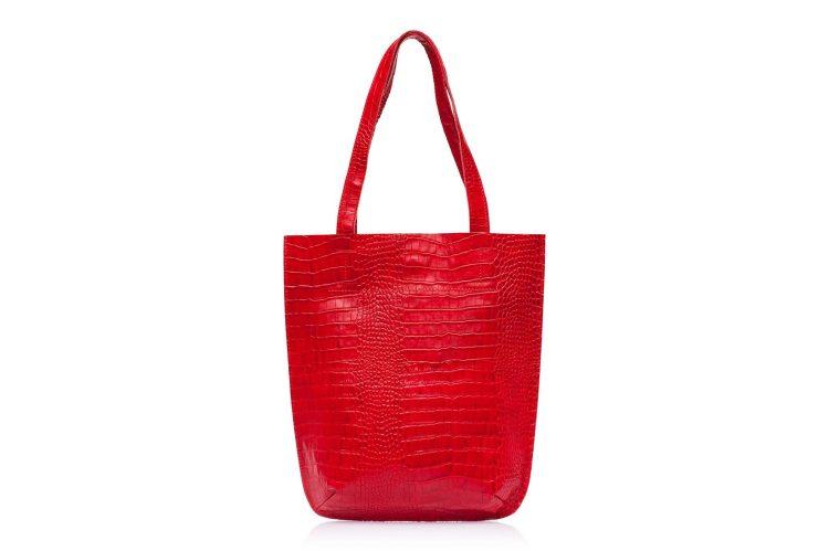 Сумка-шоппер Eshemoda Alligator, натуральная кожа, цвет красный