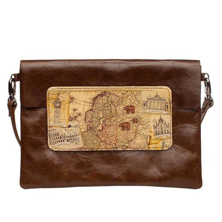 """Сумка  кросс-боди с принтом Eshemoda """"Карта мира"""", натуральная кожа, цвет коричневый"""