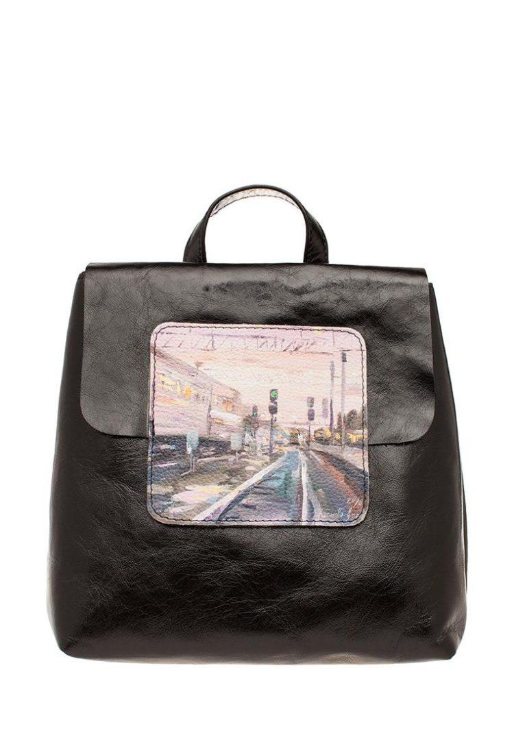 Рюкзак Midi с принтом Eshemoda «В пути», натуральная кожа, цвет чёрный