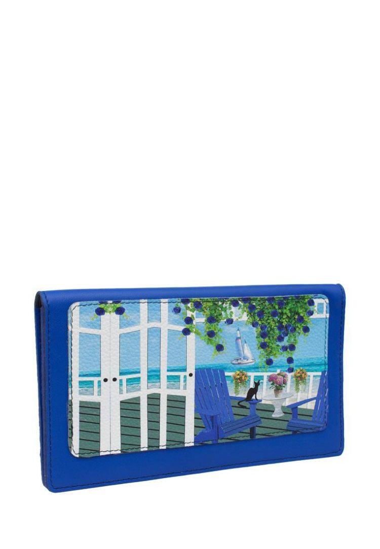 Тревел конверт с принтом Eshemoda «Кот Де Азур», натуральная кожа, цвет синий