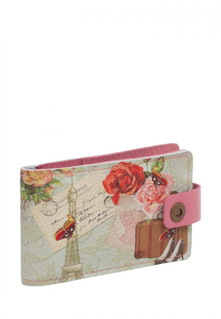 """Business card holder with Eshemoda print """"To Paris!"""", genuine leather, color pink"""