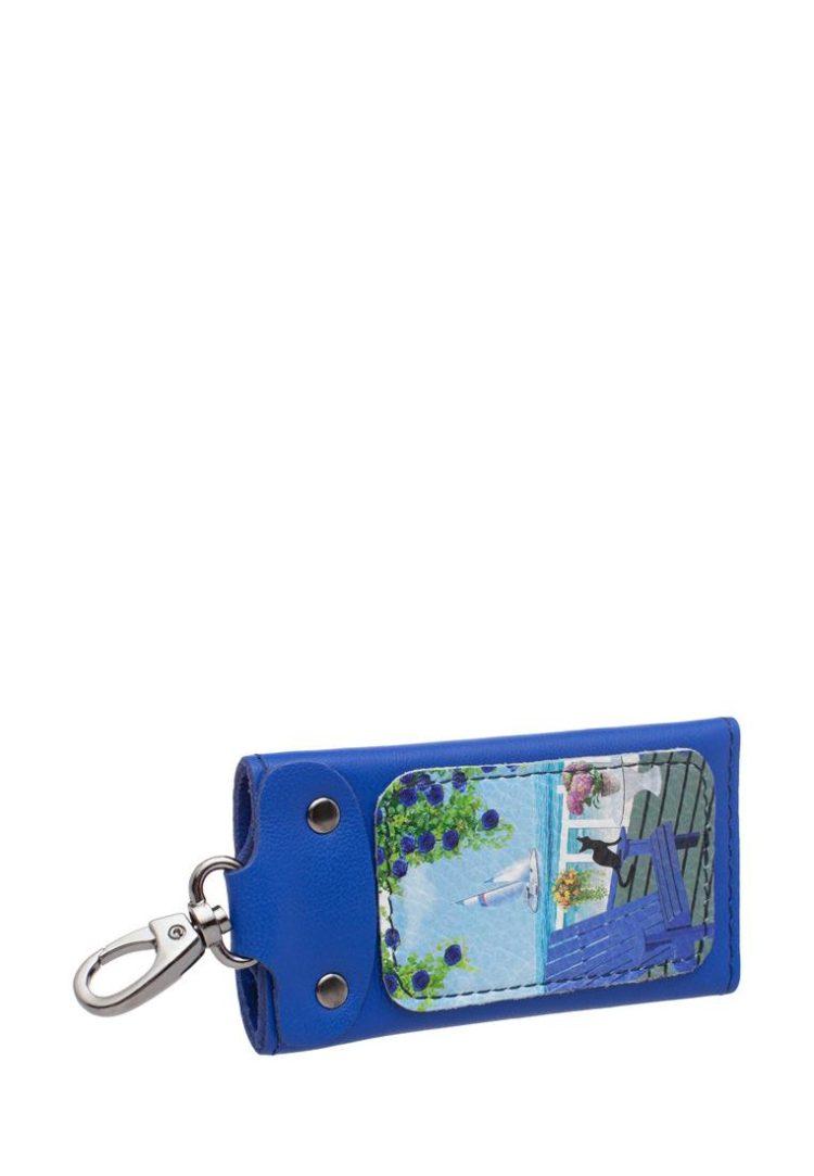 """Ключница с принтом Eshemoda """"Кот де Азур"""", размер M, натуральная кожа, цвет синий"""