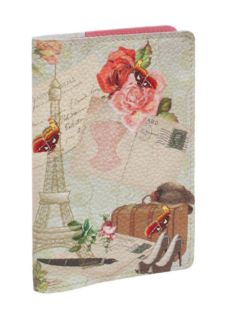"""Обложка на паспорт с принтом Eshemoda """"В Париж"""", натуральная кожа"""