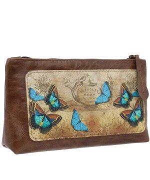Косметичка из натуральной кожи с принтом бабочки коричневого цвета