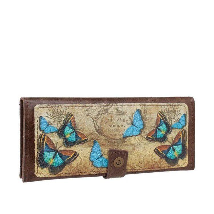 """Кошелек с принтом Eshemoda """"Голубые бабочки"""", натуральная кожа, цвет коричневый"""