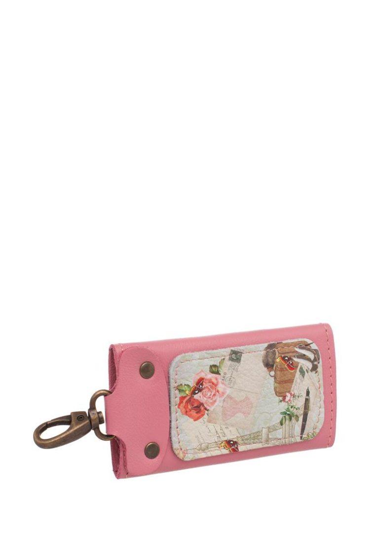 """Ключница Eshemoda  """"В Париж!"""", размер M, натуральная кожа, цвет розовый"""
