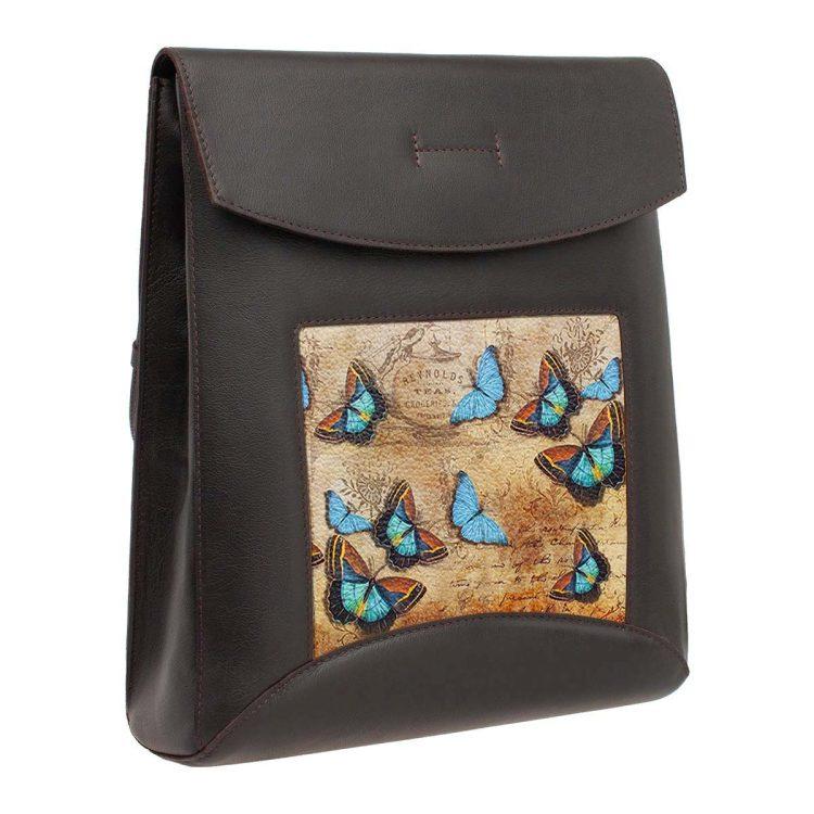 """Сумка-рюкзак с принтом Eshemoda """"Голубые бабочки"""", натуральная кожа, цвет коричневый"""