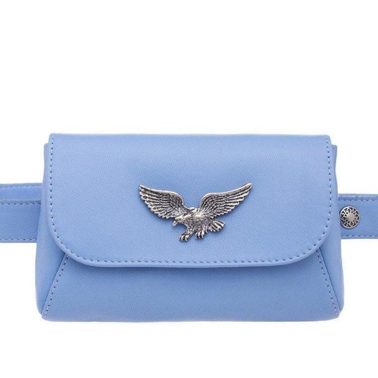 "Waist bag Eshemoda ""Eagle"", genuine leather, blue"