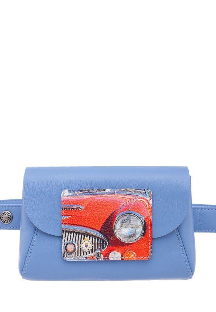 """Поясная сумка с принтом Eshemoda """"Лимузин"""", натуральная кожа, цвет голубой"""