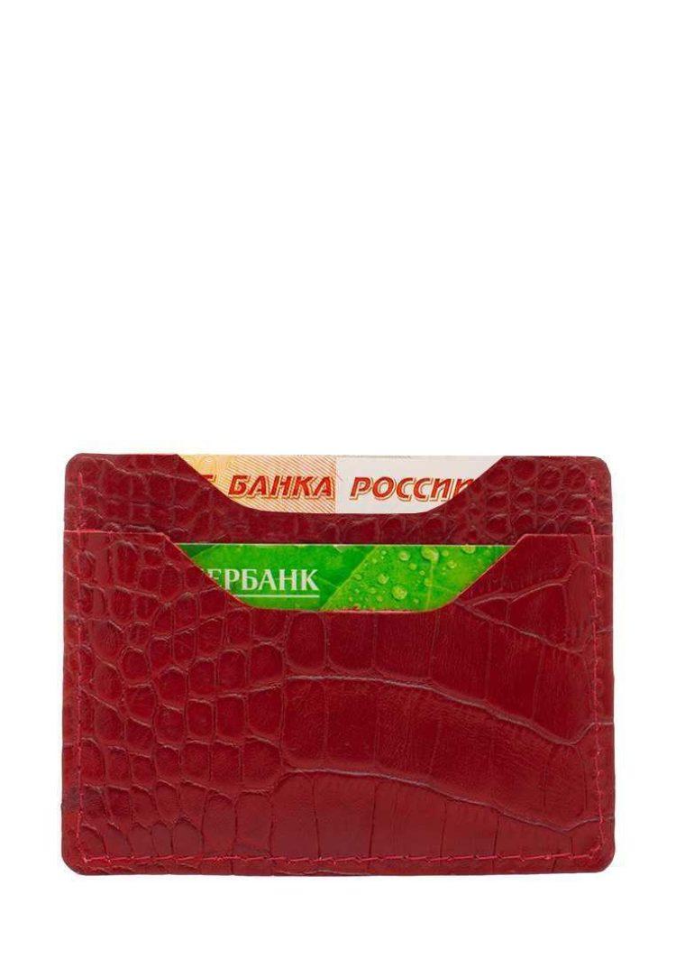 Чехол для карт из натуральной кожи красного цвета под крокодила