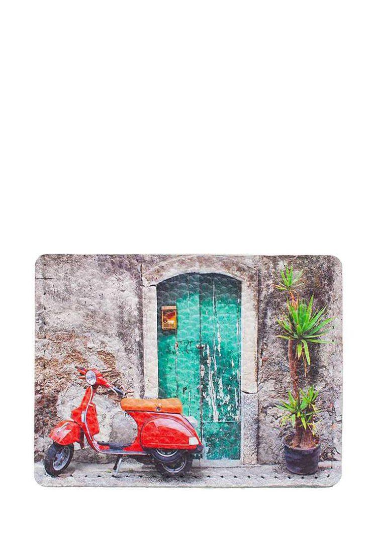 """Чехол для карт и купюр из натуральной кожи с принтом красный мопед """"Римские каникулы"""""""