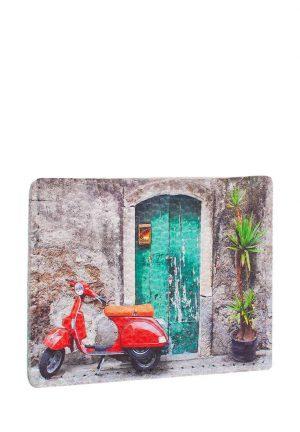 Чехол для карт и купюр из натуральной кожи с принтом красный мопед