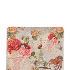 Чехол для карт и купюр из натуральной кожи с принтом розы