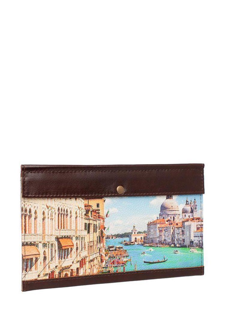 """Тревел конверт с принтом Eshemoda """"Лето в Венеции"""", натуральная кожа, цвет коричневый"""
