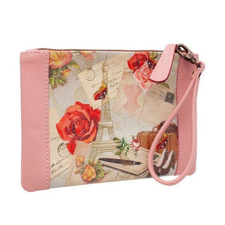 """Клатч с принтом Eshemoda """"В Париж!"""", натуральная кожа, цвет розовый"""