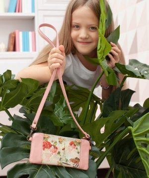 Детская сумочка из кожи с картинкой Париж розовая