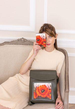 Сумка-рюкзак, комплект, рюкзак трансформер из кожи цвета хаки с картинкой с принтом с маками