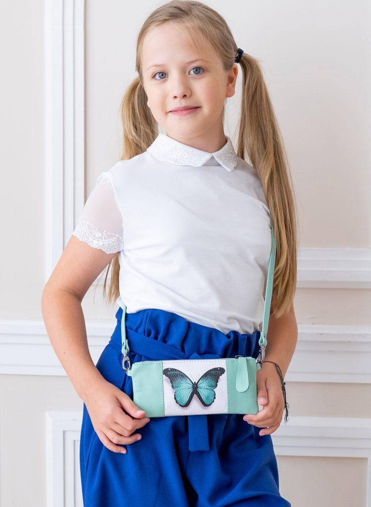 Детская сумочка из кожи с картинкой