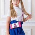 Детская сумочка из кожи с картинкой розовая с с картинкой собачкой