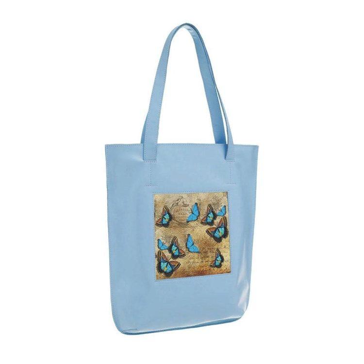 """Сумка-шоппер с принтом Eshemoda  """"Голубые бабочки"""", натуральная кожа, цвет голубой"""