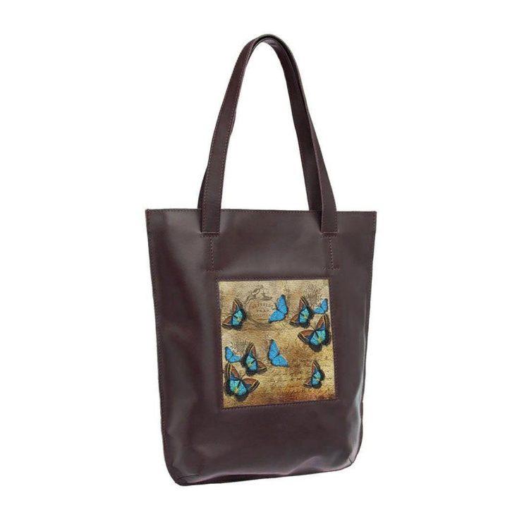 """Сумка-шоппер с принтом Eshemoda  """"Голубые бабочки"""", натуральная кожа, цвет коричневый"""