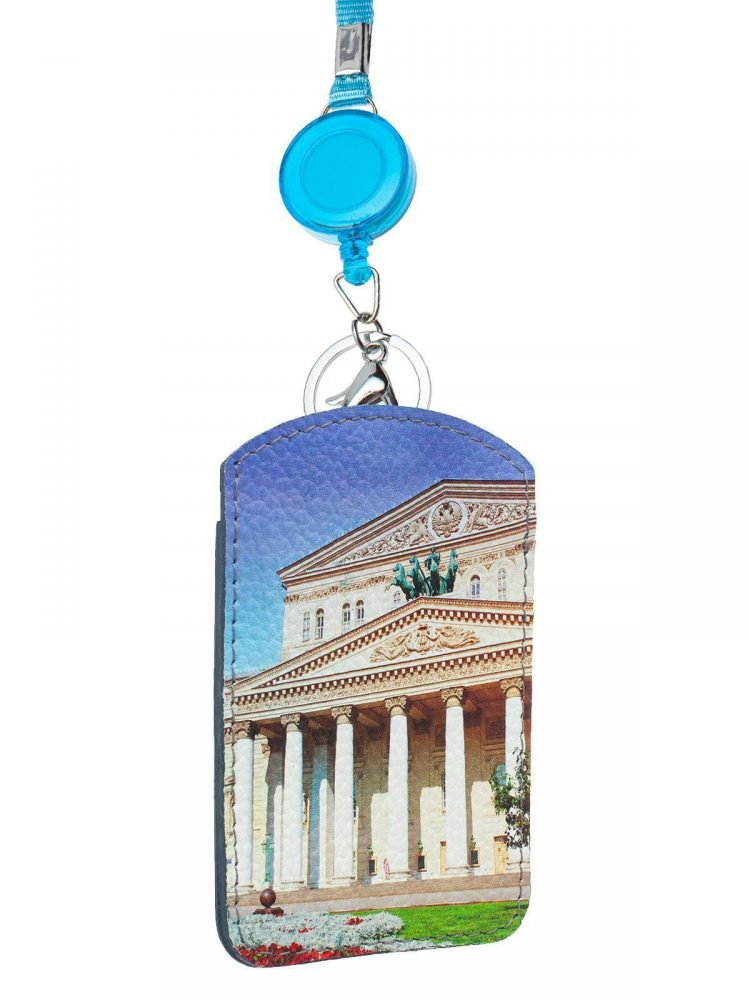 """Чехол для магнитных карт с принтом Eshemoda """"Большой театр"""", модель лайт, натуральная кожа, цвет синий"""