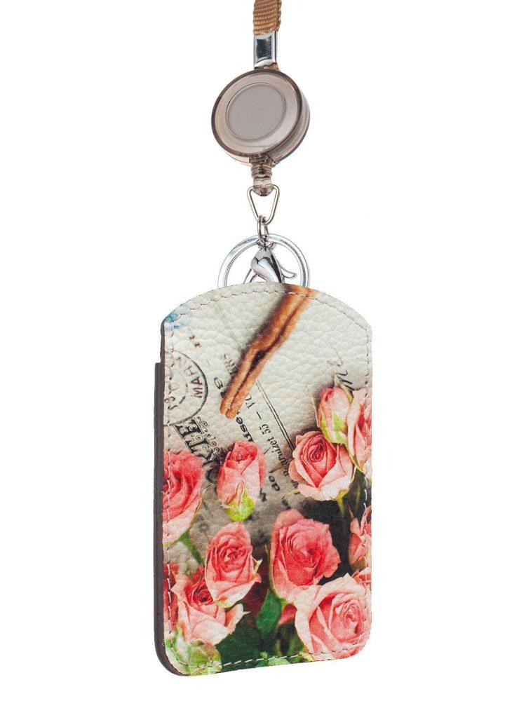"""Чехол для магнитных карт с принтом Eshemoda """"Розы с корицей"""", натуральная кожа, цвет коричневый"""