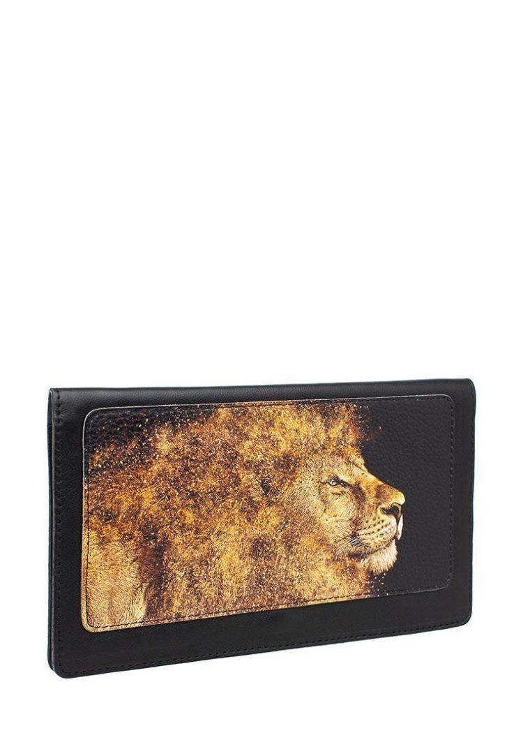Тревел конверт с принтом Eshemoda «Золотой лев», натуральная кожа, цвет черный