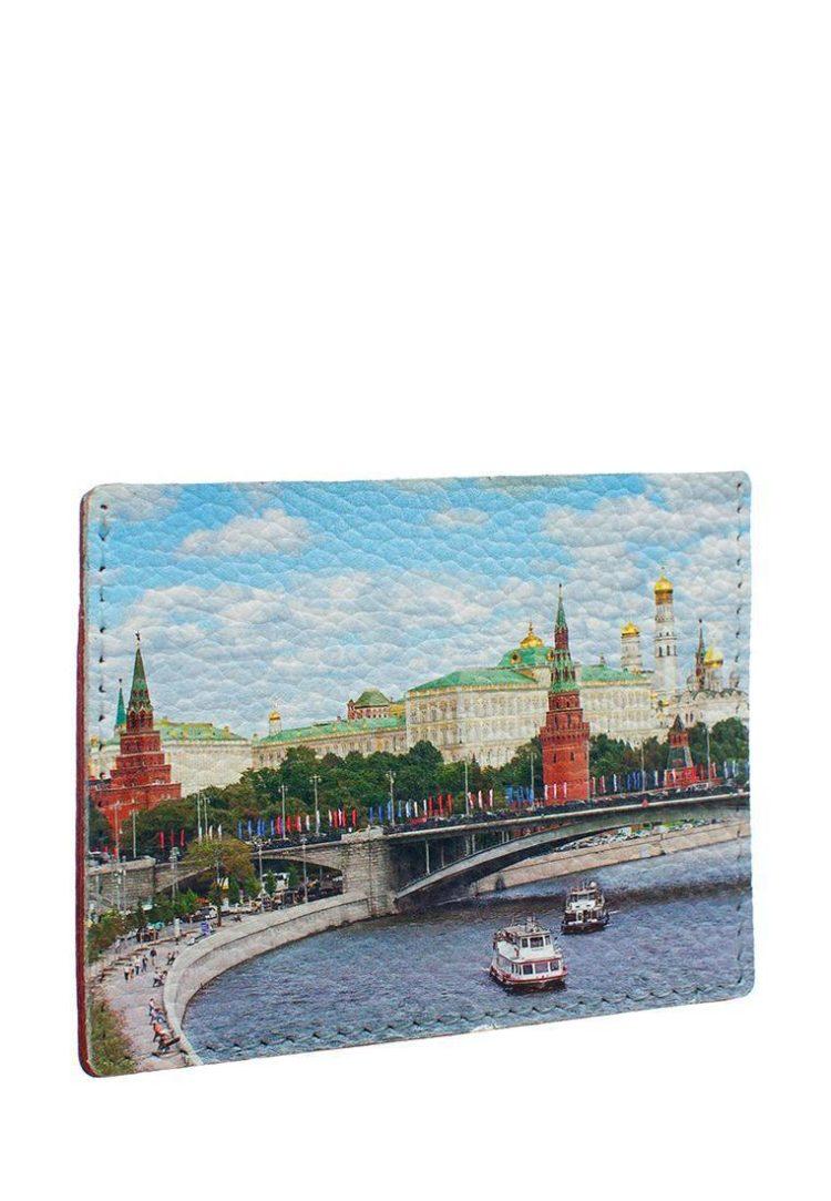 """Кардхолдер с принтом Eshemoda """"Кремль, Каменный мост"""", натуральная кожа, цвет красный"""