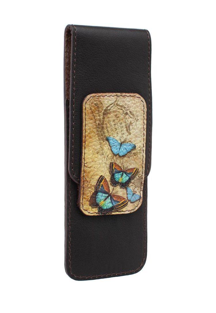 Футляр универсальный с принтом Eshemoda «Голубые бабочки», натуральная кожа, цвет коричневый