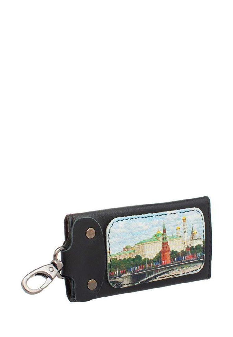 Ключница с принтом Eshemoda «Кремль. Каменный мост», размер M, натуральная кожа, цвет чёрный