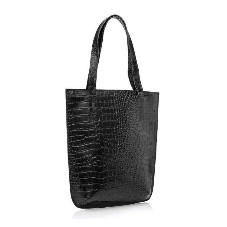 Сумка-шоппер Eshemoda, Alligator, натуральная кожа, цвет черный