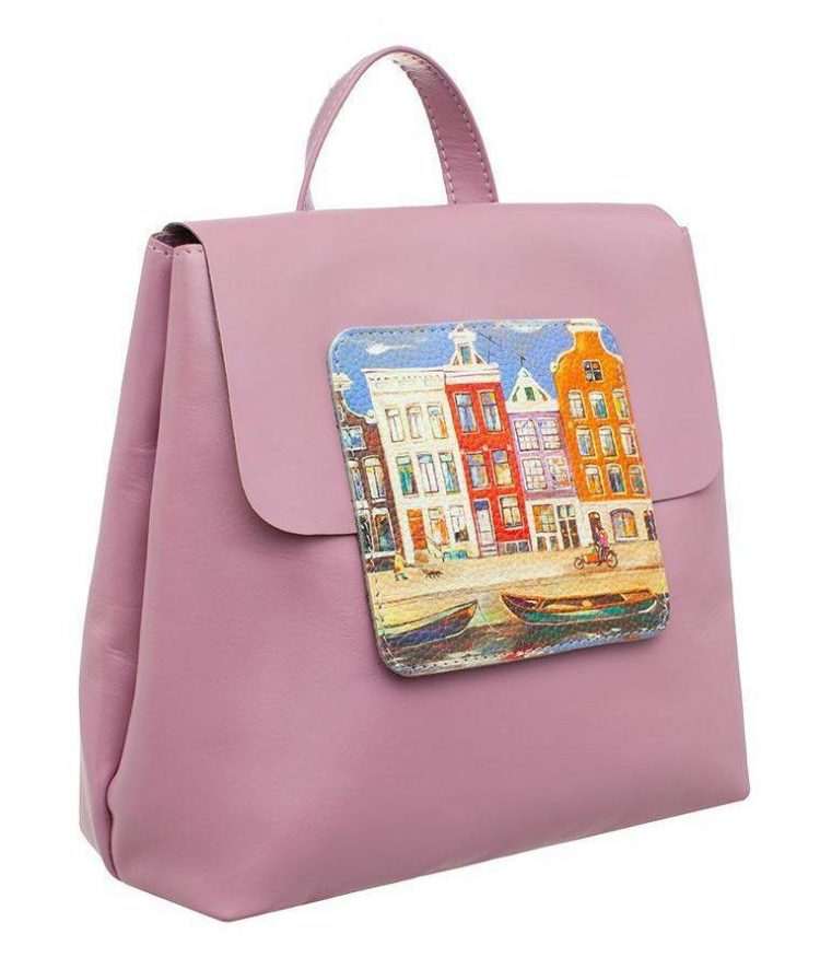 """Рюкзак Eshemoda с принтом """"Разноцветный Амстердам"""", размер M, натуральная кожа, цвет сиреневый"""