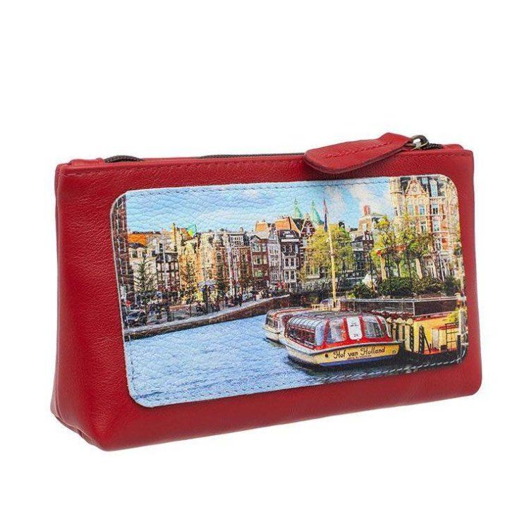 """Косметичка с принтом Eshemoda """"Открытка из Голландии"""", размер L, натуральная кожа, цвет красный"""