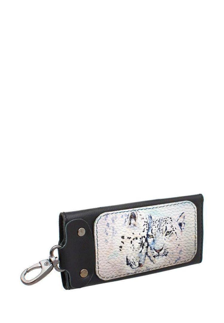 Ключница с принтом Eshemoda «Снежные барсы», размер L, натуральная кожа, цвет чёрный