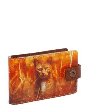 """Визитница с принтом Eshemoda """"Рыжий кот"""", натуральная кожа, цвет рыжий"""