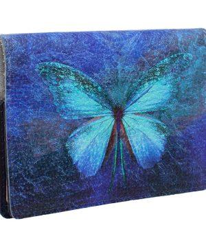 """Обложка на паспорт с принтом Eshemoda """"Бабочка кружево"""", натуральная кожа"""
