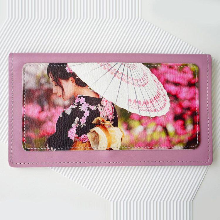 """Тревел конверт с принтом  Eshemoda """"Японский мотив"""" натуральная кожа, цвет сиреневый"""