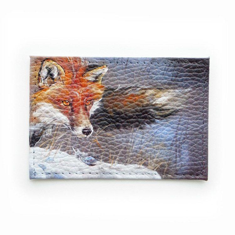 """Обложка для одной карточки с принтом Eshemoda """"Королевский фазан"""", натуральная кожа"""