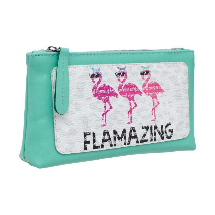 """Косметичка с принтом Eshemoda """"Фламинго"""", размер L, натуральная кожа, цвет бирюзовый"""