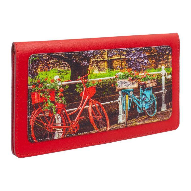 Тревел конверт для путешествий из кожи с принтом велосипеды