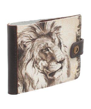 Портмоне из кожи с изображением льва