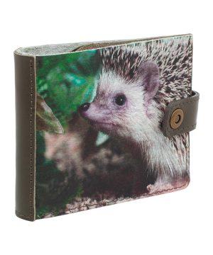 Маленький кошелек из кожи с принтом ёжик