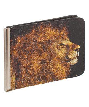 Зажим для денег из кожи с изображением льва