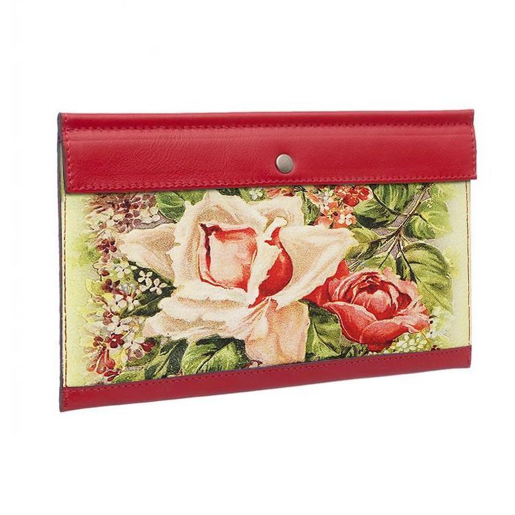 """Тревел конверт с принтом Eshemoda """"Чайная роза"""", натуральная кожа, цвет красный"""