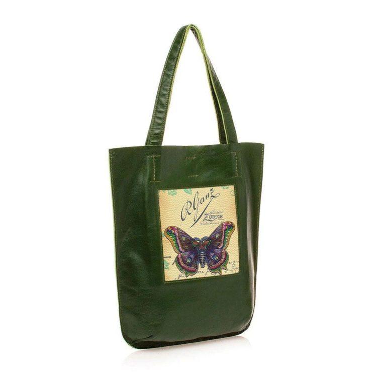 """Сумка-шоппер """"Винтажная бабочка"""", натуральная кожа, цвет зеленый"""