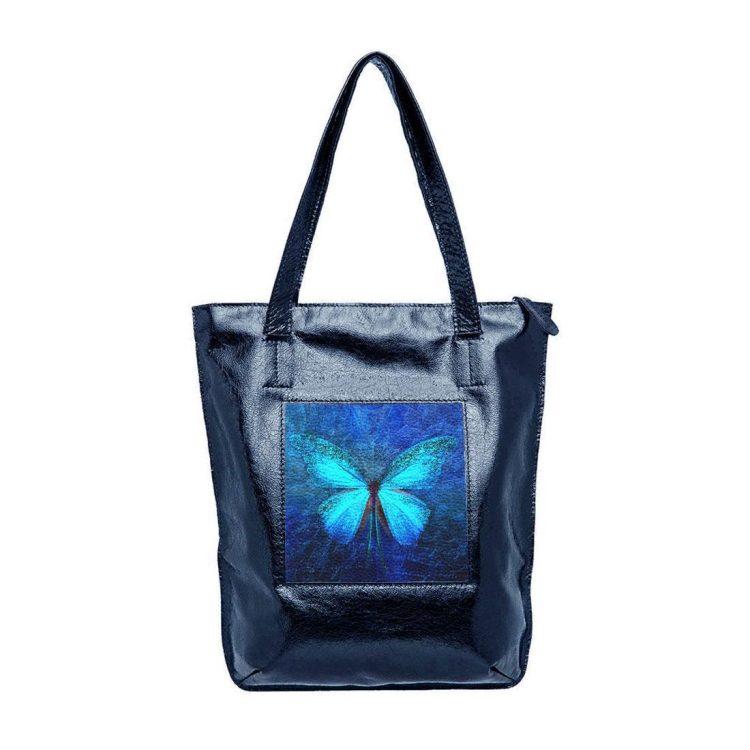 "Сумка-шоппер ""Бабочка кружево"", натуральная кожа, цвет синий"