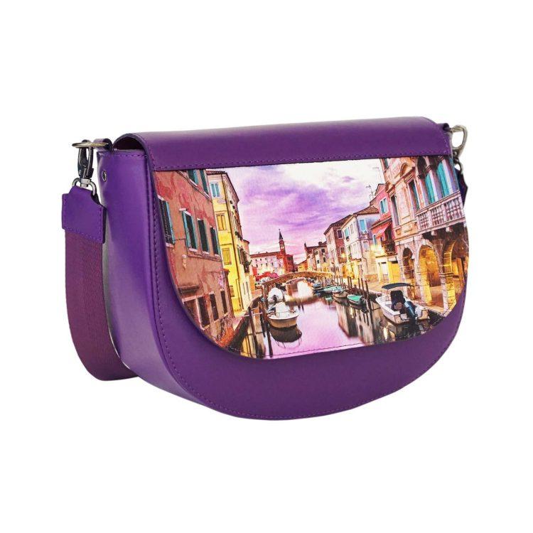 """Сумка со сменным клапаном полукруглая Eshemoda с принтом """"Вечер в Венеции"""", цвет фиолетовый"""