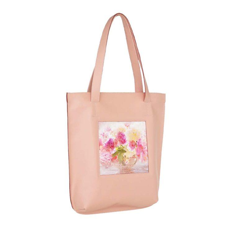"""Сумка-шоппер  принтом """"Розовый букет"""", натуральная кожа, цвет розовый"""