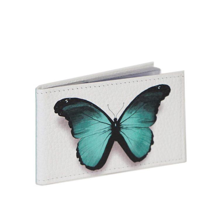 """Визитница """"Бирюзовая бабочка"""", натуральная кожа"""